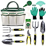 Croch Garden Tools Set - 12 Piece Gardening Gifts Tool Kit with 6 Hand Tools, Garden Storage Tote, Garden Gloves,Seeds Bag,Plant Labels,Garden Tie and Seeder Tool
