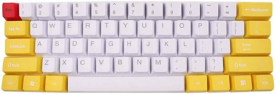 61keys PBT OEM Profile Keycap for MX Switches Gaming Mechanical Keyboard White+Yellow Color