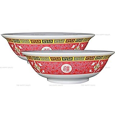 Happy Sales, set of 2 Melamine Oriental Pho Noodle Soup Bowl, 52 Ounce, Longevity Design