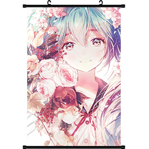 Mxdza New Japanese Anime Vocaloid Hatsune Miku Fabric Painting Anime Home Decor Wall Scroll Posters for Decorative 40x60CM