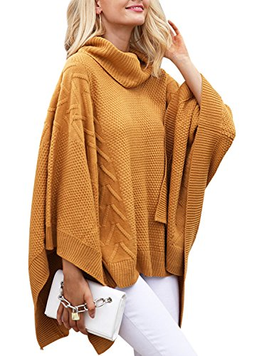 BerryGo Women's Chic Turtleneck Batwing Sleeve Asymmetric Knitted Poncho Pullovers Sweater Camel,One Size (Turtleneck Poncho)