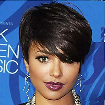 HOTKIS Short Human Hair Wigs Side Bangs Short Wigs for Women Human Hair Short Wigs Glueless