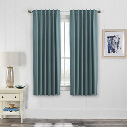 H.Versailtex Solid Insulated Thermal Blackout Curtain Panels Pair – Back Tab / Rod Pocket Window Treatment Drapes for Living Room/Bedroom 52 by 63 Inch – Stone Blue