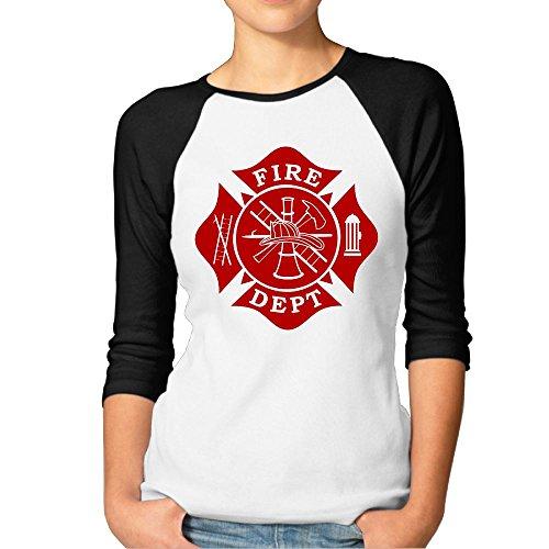 Hexu Fire Dept Maltese Cross Womens 3/4 Long Sleeve Raglan Tee Black M