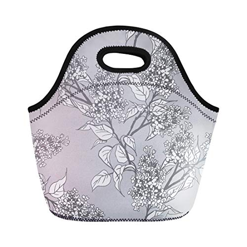 Semtomn Lunch Bags Botanical Black Packaging of Lilac Twigs Gray Abstract Botany Neoprene Lunch Bag Lunchbox Tote Bag Portable Picnic Bag Cooler Bag