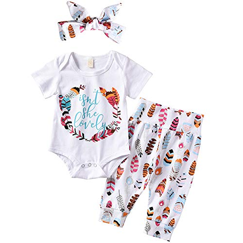 ASTRILL Baby Girl 3pcs Outfits Short Sleeve Bodysuit Feather Pant with Bunny Headband White