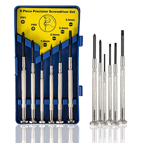 6Pcs Mini Screwdriver Set, Eyeglass Repair Screwdriver, Precision Repair Tool Kit with 6 Different Size Flathead and Philips Screwdrivers, Ideal for Watch, Jewelers (Mini Eye Glasses)