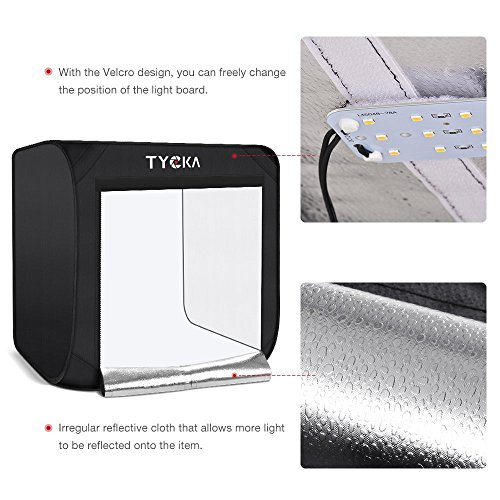 """TYCKA Photo Studio Box, 24""""X24""""X24""""Portable Folding Professional Photography Tent 2 LED Light Strips 3 Backdrops (Black, White, Beige) by TYCKA (Image #3)"""