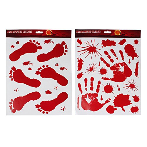 (Lisli Bloody Handprint Clings Horror PVC Stickers Decals for Halloween)