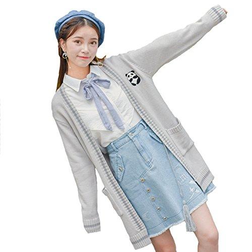 FutaiQjp レディース カーディガン 刺繍 ニット パンダ フォーマルセーター 学生服 セーター 刺繍カーデガン ゆったり 羽織 羽織り