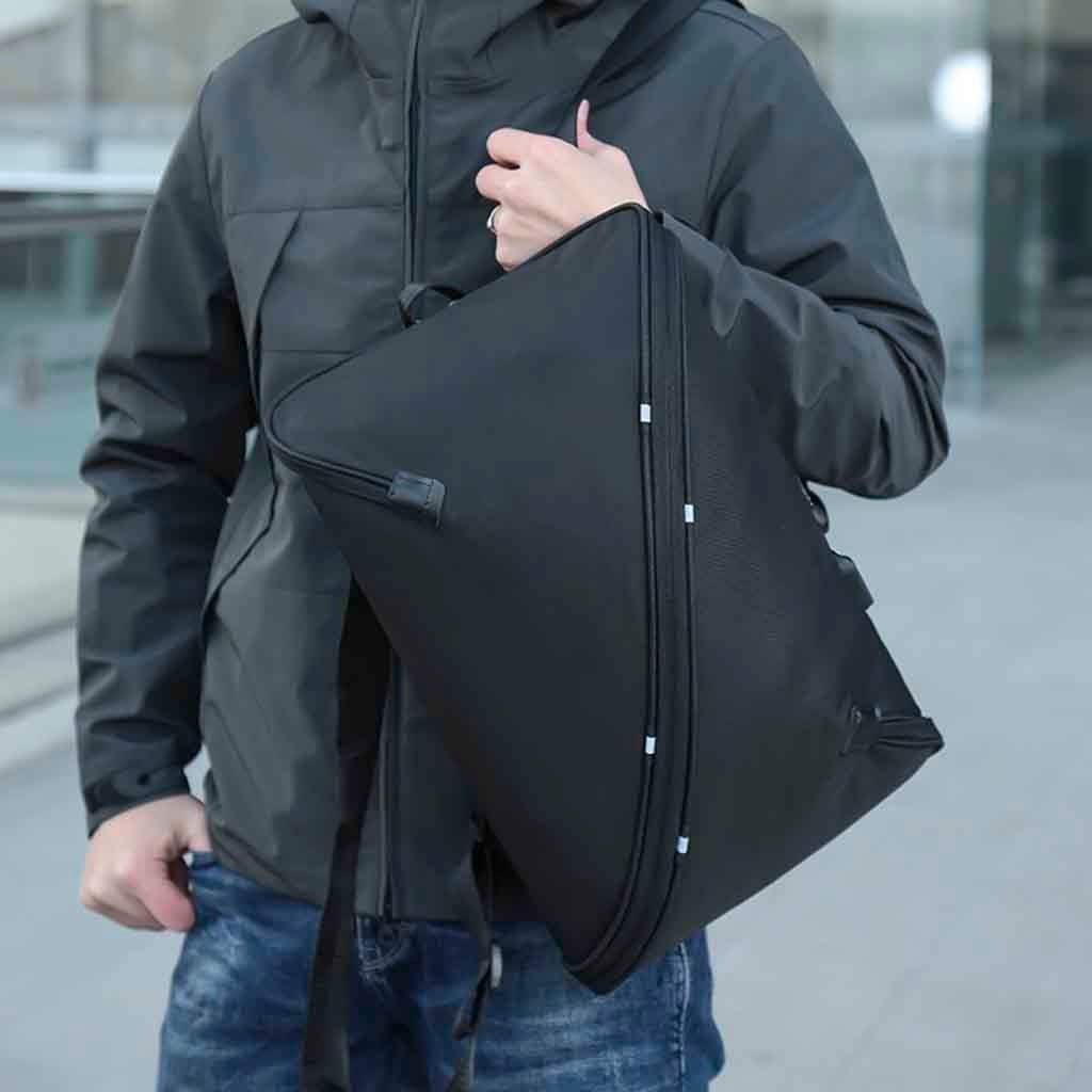Black Unisex Oxford Cloth Backpack Anti-Theft Usb Inside Multi-Pocket Briefcase Multi-Function Creative Fashion Mens Travel Bag Computer Bag
