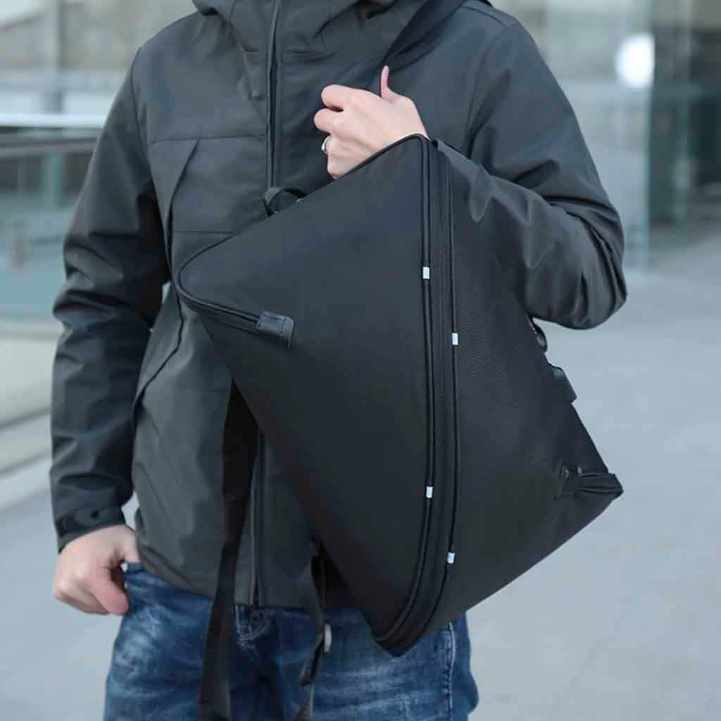 Black HULKAY New Upgrade Mens Fashion European Style Creative USB Rucksack Travel Backpack Bookbag