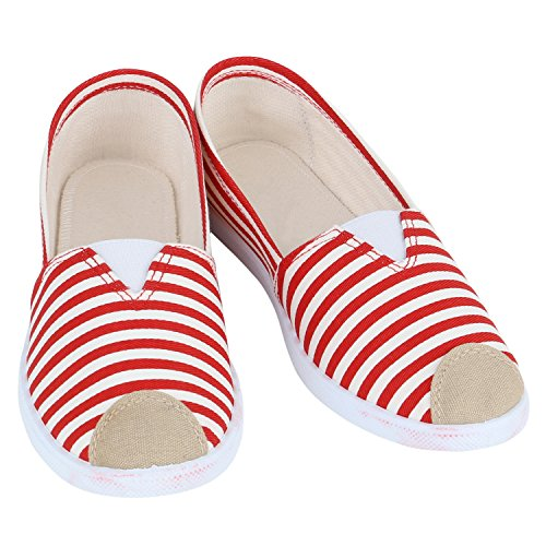 Stiefelparadies Bequeme Damen Sneakers Sneaker Slip-Ons Ballerina Schuhe Flats Slippers Ballerinas Neon Stoffschuhe Muster Profilsohle Flandell Rot Weiss
