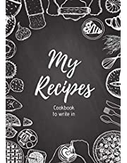 My Recipes : Cookbook to write in:   220 pages,100 recipes, 8.27 in x 11.69 in   2 pages per recipe with space to illustrate them : photos to paste, explanatory drawings ...