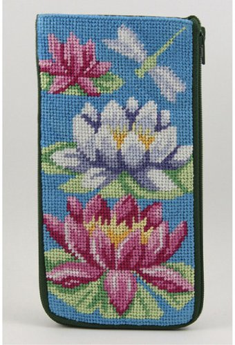 Lilies Needlepoint - Eyeglass Case - Waterlily - Needlepoint Kit