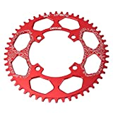 DECKAS Narrow Wide Tooth Chainring Bicycle 40T 42T 44T 46T 48T 50T 52T Chainring 104mm BCD Oval or Round CNC Machined Alloy Fits 8 to 12 Speed Chains (Red Round, 48T) (Tamaño: 48T)