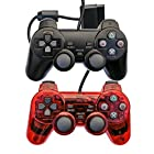 Saloke Wired Gaming Controller for Ps2 Double Shock (Black1 and Clear Rad1)