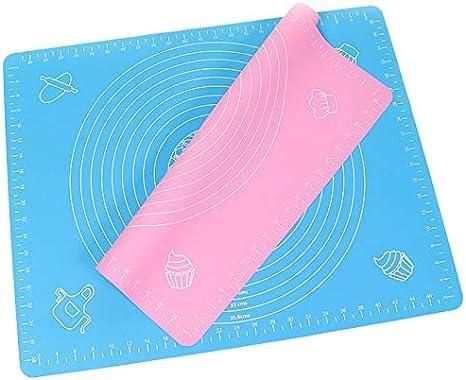 Rosa /& Blau 63 x 45cm Lawei 2 St/ück Rollmatte Backmatte aus Silikon Antihaft BPA-Frei Ausrollmatte Rutschfest f/ür Fondant Torten Kuchen