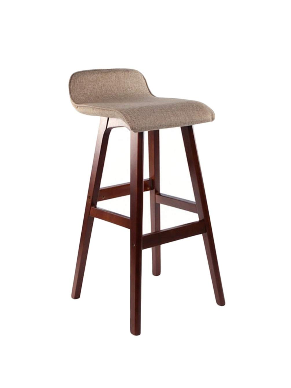 High BARSTOOLRI Bar Stool with Backrest, Solid Wood Frame Non-Slip Ergonomic Removable Cushion Cover Kitchen High Chair (Size   High)