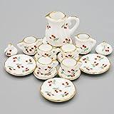Odoria 1:12 Miniature 15PCS Porcelain Tea Cup Set Cherry Chintz Dollhouse Kitchen Accessories