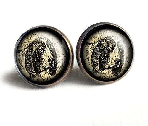 Basset Hound Dog Stud Earrings