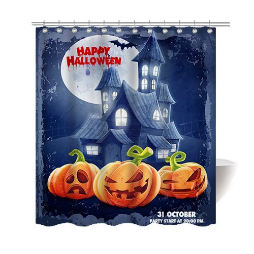 [Gwein Halloween Night Pumpkin Castle Night of Terror Decorative Bathroom Mildew Resistant Fabric Shower Curtain Waterproof/Water-Repellent & Antibacterial Shower Room Decor Shower Curtains 66 x] (Mounted Animal Head Costume)