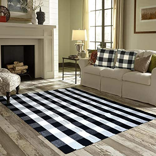 Winwinplus Buffalo Check Rug,Handwoven Cotton Black and White Plaid Area Rug