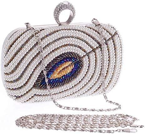ウィメンズイブニングパーティー財布、ビーズバッグ、ハンドバッグ、ショルダーバッグ、(カラー:シルバー)パールビーズバッグクロスボディチェーンとダイヤモンドバッグ 美しいファッション