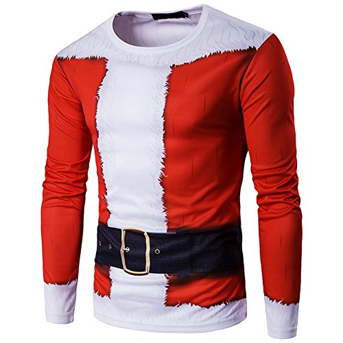 Muscle Santa Costume (Igeon Men's Long Sleeve Christmas 3D Santa Claus Stretch T Shirt Tops (Large))