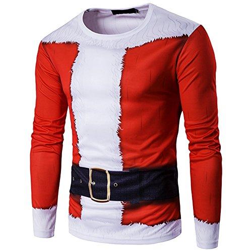 IGIG Men's Christmas Santa Claus Printed Costume Long Sleeve 3D T shirt Tops (X-Large) -