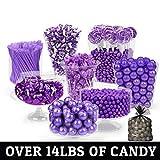 Purple Candy Buffet - (Approx 14lbs) Includes Hershey's Kisses, Sixlets,Gumballs, Dum Dum Lollipops, Frooties & More