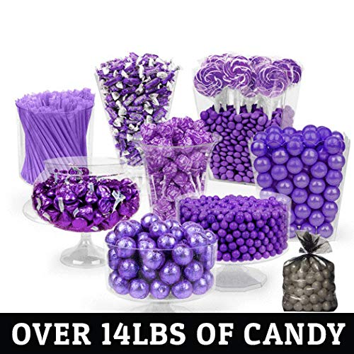 Purple Candy Buffet - (Approx 14lbs) Includes Hershey's Kisses, Sixlets,Gumballs, Dum Dum Lollipops, Frooties & More by WH Candy (Image #1)
