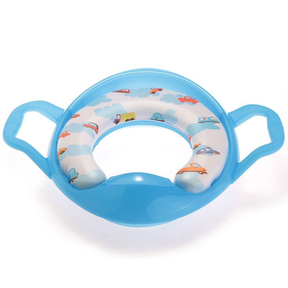 REFURBISHHOUSE Bleu Siege Pot Reducteur de Toilette Lunette WC avec Poignee pour Bebe Enfant