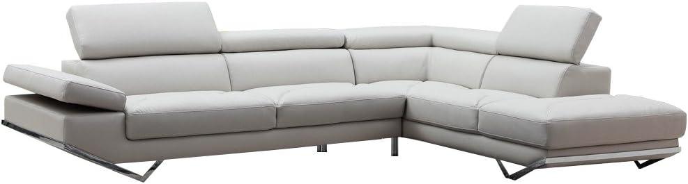 Limari Home Agropoli Sectional Sofa, Light Grey