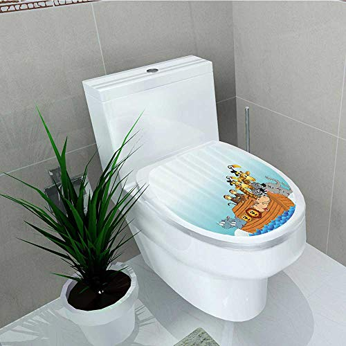 Printsonne Toilet Seat Wall Stickers Paper Noahs Ark in Waves in The Sea Water Carto Characters Animal Giraffe Elephant Decals DIY Decoration W6 x L8 ()