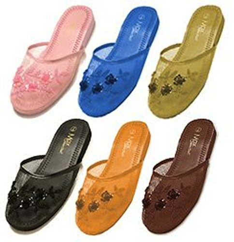 Beaded Mesh Slippers - 6 Pair Assorted Mesh Chinese Slippers- Size 6