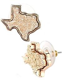 Women's Druzy Texas State Shape Pierced Stud Earrings
