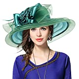 Noble Ladies Kentucky Derby Wedding Church Wide Brim Sheer Floral Feather Hat (Green) - Best Reviews Guide