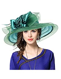 JESSE · RENA Noble Ladies Kentucky Derby Wedding Church Wide Brim Sheer Floral Feather Hat (Green)