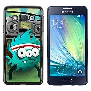 Caucho caso de Shell duro de la cubierta de accesorios de protección BY RAYDREAMMM - Samsung Galaxy A3 SM-A300 - Monster Rock Retro Radio Huge