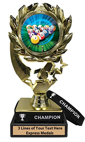 (Express Medals Billiards Pool Trophy with Removable Wearable Champion Wrist Band Marble Base and Personalized Engraved Plate 409)