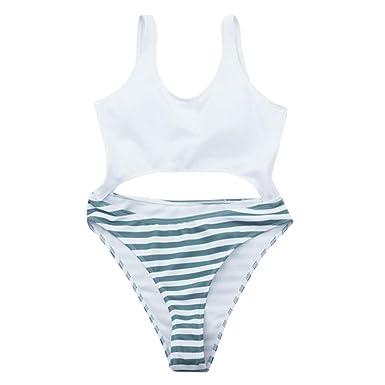 Wiltson Bikini de Rayas de Color Liso para Mujer Sexy un Hombro ...