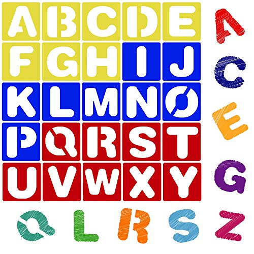 Karty Alphabet Letter Stencil Set for Kids and Adults | Painting, Lettering and Drawing Templates | Large Plastic ABC Stencils for Protest Posters, Arts and Crafts Projects (6 Inch)]()