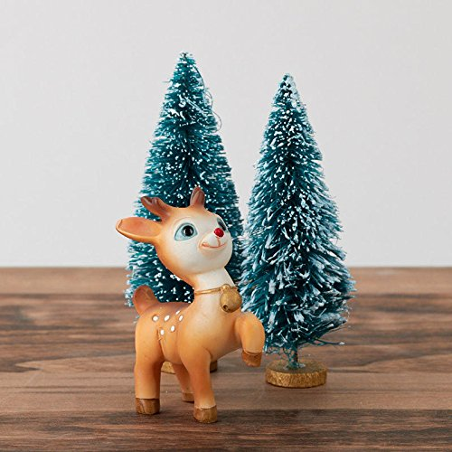 Factory Direct Craft Retro Look Baby Rudolph and Frosted Bottle Brush Tree Set