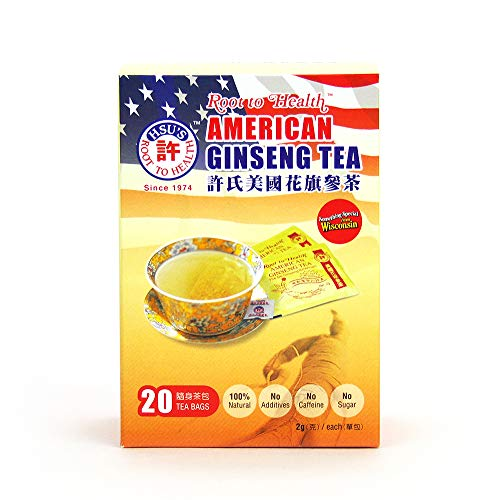 Hsu's Ginseng SKU 1036 | American Ginseng Tea, Economy 20ct | Cultivated Wisconsin American Ginseng Direct from Hsu's Ginseng Gardens | 许氏花旗参 | 20ct Economy Box, 西洋参, B000638OVI