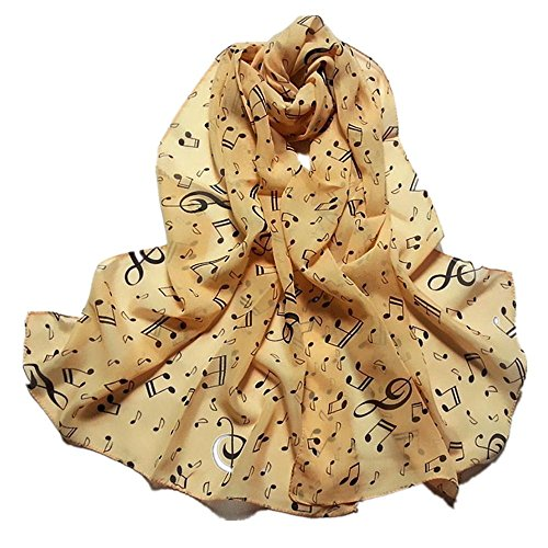 Qingfan Lightweight Scarves: Fashion Stylish Soft Silk Chiffon Scarf Wrap Polka Musical Note Shawl For Women Girls (C) Polka Note