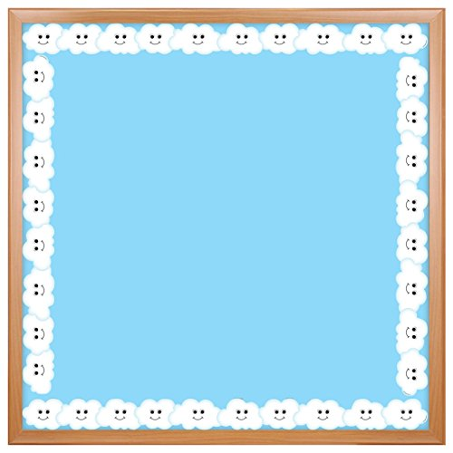 Hygloss Products Happy Clouds Die-Cut Bulletin Board Border - Classroom Decoration - 3 x 36 Inch, 12 ()