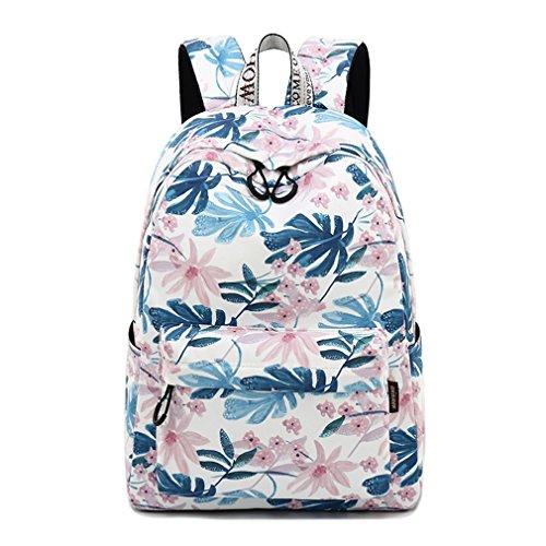 Imiflow Girls School Backpack Travel Rucksack Book Bags Casual Daypacks (Leaves)]()