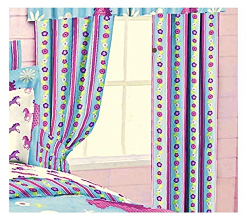 (Girls Turquoise Blue & Pink Stripe Floral PONY HORSE WINDOW CURTAIN SET (2-Panels w/2-Tiebacks) 63