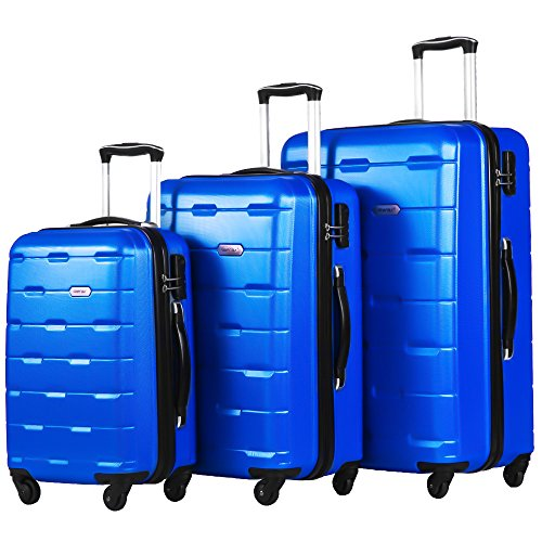 Merax Luggage 20 Inch 24 Inch and 28 Inch 3-Piece Suitcase Spinner Set (Blue.) by Merax